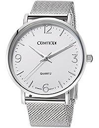 Comtex メンズ 腕時計 スイス製クオーツ ステンレス ウオッチ 時計 アラビア数字 シルバー