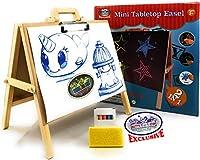 Matty's Toy Stop 2イン1ミニ木製卓上イーゼル 黒板 ペーパークリップ アクセサリー