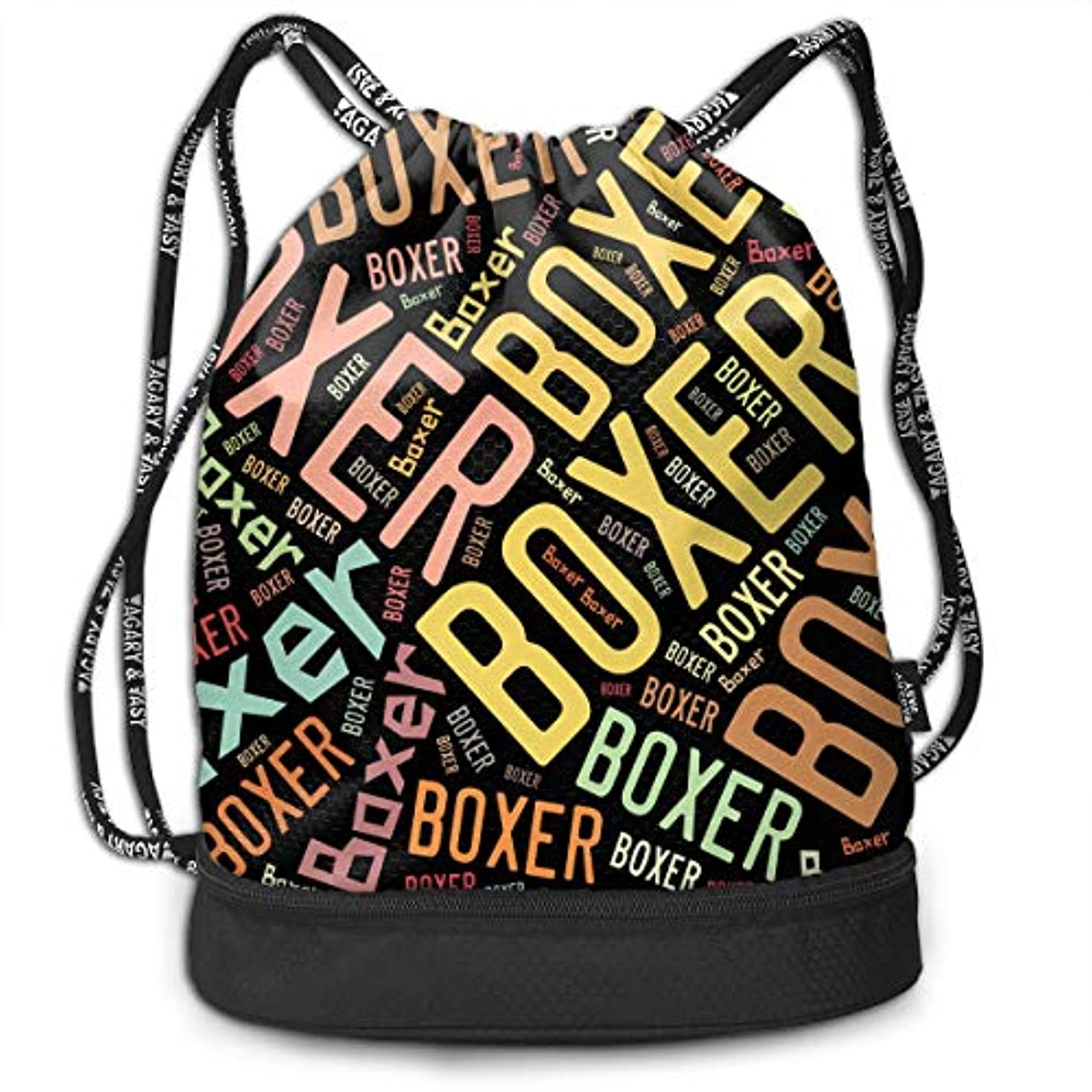 音声スチールマージンジムサック Boxer ボクサー ナップサック 巾着袋 バックパック 超軽量 バッグ 男女兼用 大容量 Black