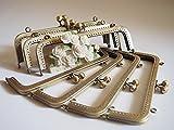 ★7個セット★ 口金 がま口 20cm 角型 アンティークゴールド エンボス加工 柄 布 革 バッグ ポーチ ハンドメイド スクエア 角7