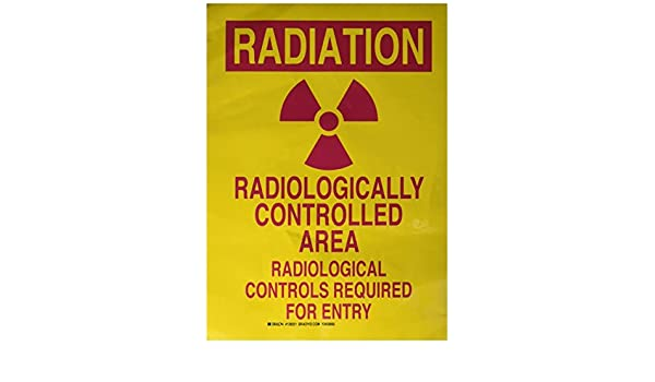 Brady 129221 Radiation and Laser Sign LegendRadiation Radiologically Controlled Area Radiological Controls 14 Height 10 Width Magenta on Yellow