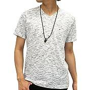 OVAL DICE(オーバルダイス) Tシャツ ネックレス セット 半袖 ゆる Vネック 無地 メン...