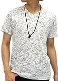 メンズ Tシャツ [オーバルダイス] Tシャツ ネックレス セット 半袖 ゆる Vネック 無地 メンズ