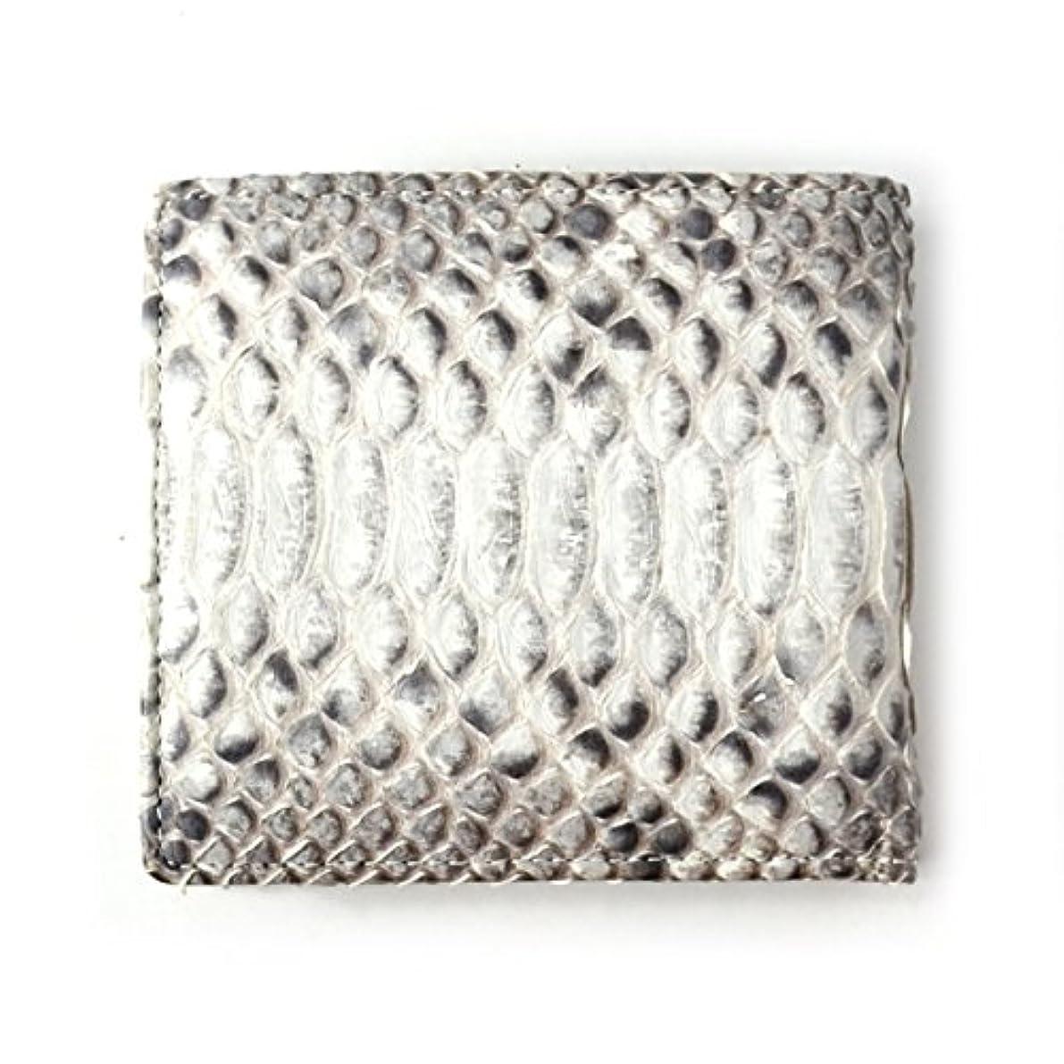 供給敬意を表する脳[ロダニア] RODANIA 二つ折り財布 メンズ パイソン 蛇革 ショートウォレット ナチュラル 【SNJN0012】
