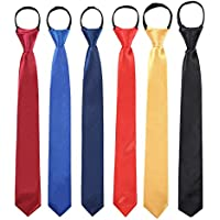 Toddlers Boys Zipper Ties Necktie - 6PCS Solid Color Adjustable Tie for Party