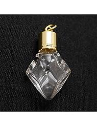 ミニ香水瓶 アロマペンダントトップ ダイヤ型(透明 容量0.7ml)×穴あきキャップ ゴールド