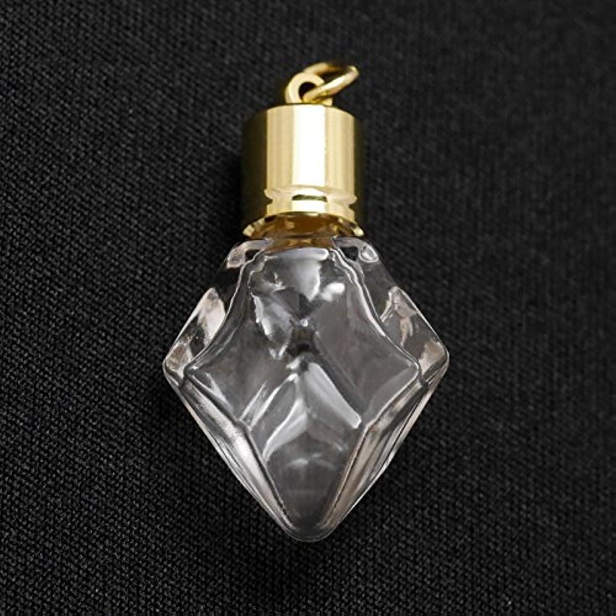 刺します酸っぱい部分ミニ香水瓶 アロマペンダントトップ ダイヤ型(透明 容量0.7ml)×穴あきキャップ ゴールド