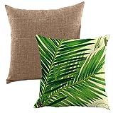 Lipinea クッションカバー 45 * 45 cm ボタニカル 綿麻 グリーン モンステラ 植物柄 無地 セット LC-001 (06.ボタニカル Eセット)