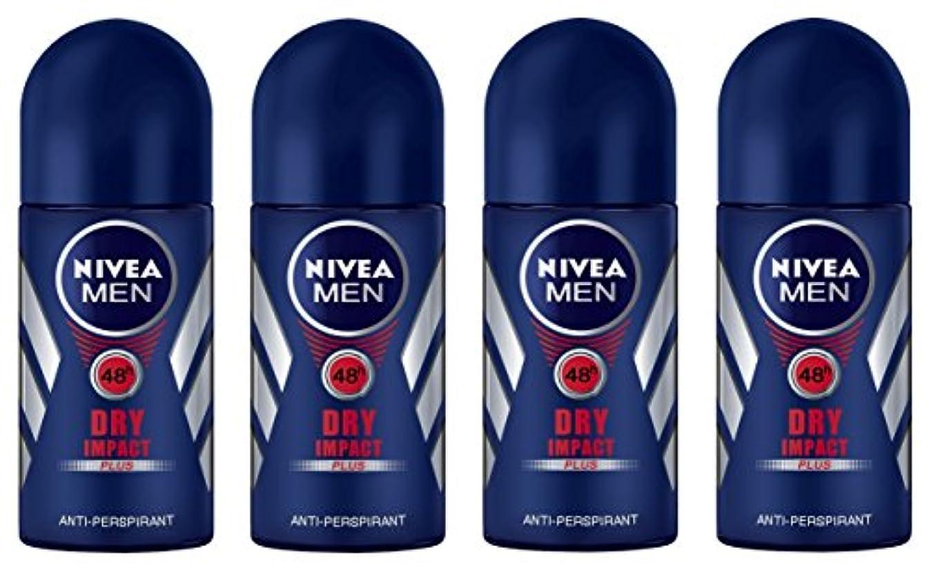 オズワルド土地抽象(Pack of 4) Nivea Dry Impact Plus Anti-perspirant Deodorant Roll On for Men 4x50ml - (4パック) ニベアドライ影響プラス制汗剤デオドラントロールオン...
