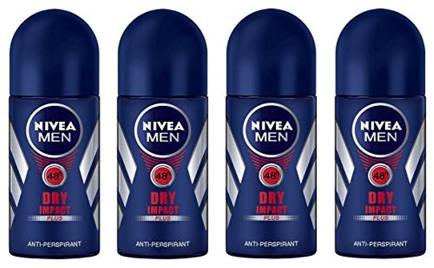 埋めるお別れ精巧な(Pack of 4) Nivea Dry Impact Plus Anti-perspirant Deodorant Roll On for Men 4x50ml - (4パック) ニベアドライ影響プラス制汗剤デオドラントロールオン...