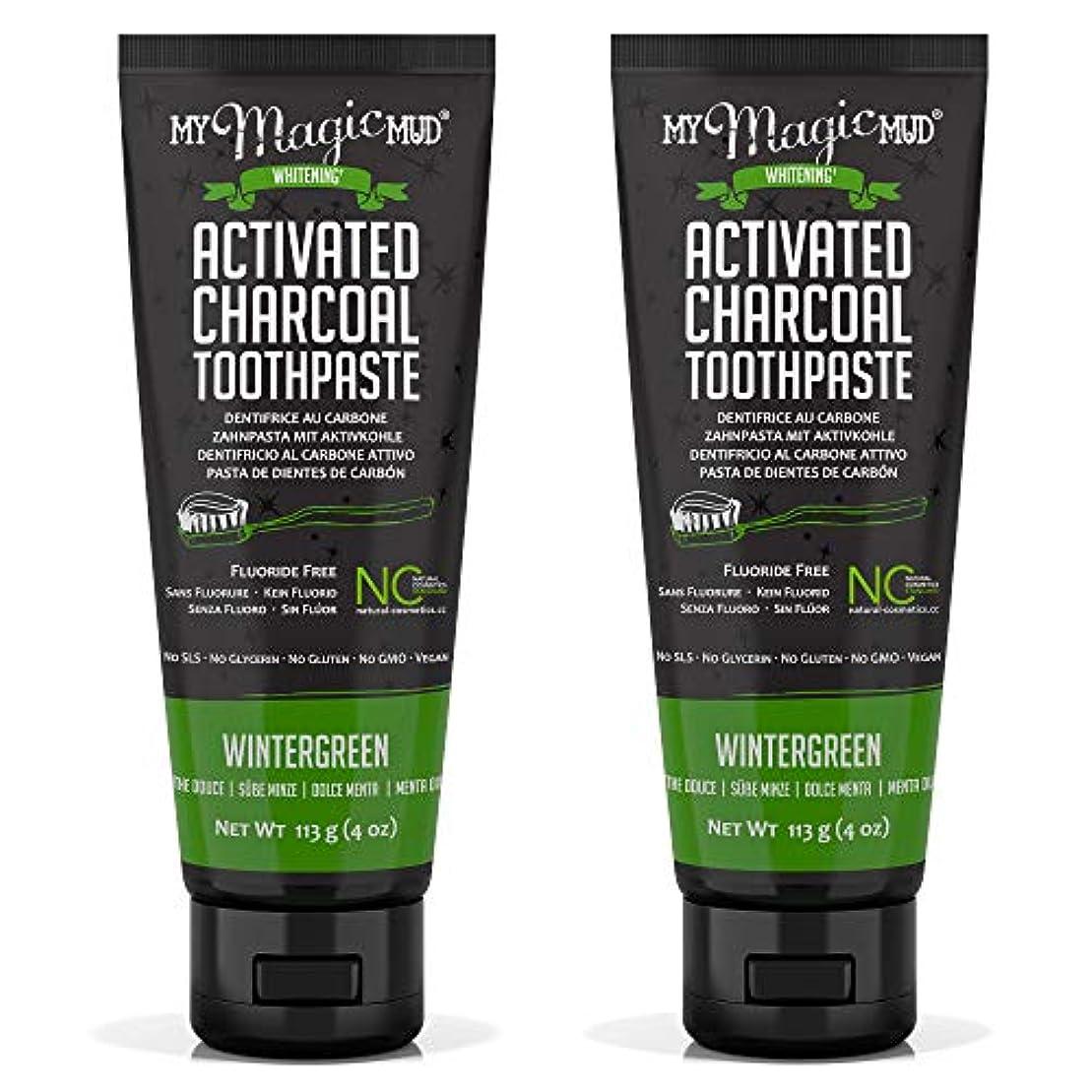 母性バレエ起こるMy Magic Mud Activated Charcoal Toothpaste (Fluoride-Free) - Wintergreen 113g/4oz並行輸入品