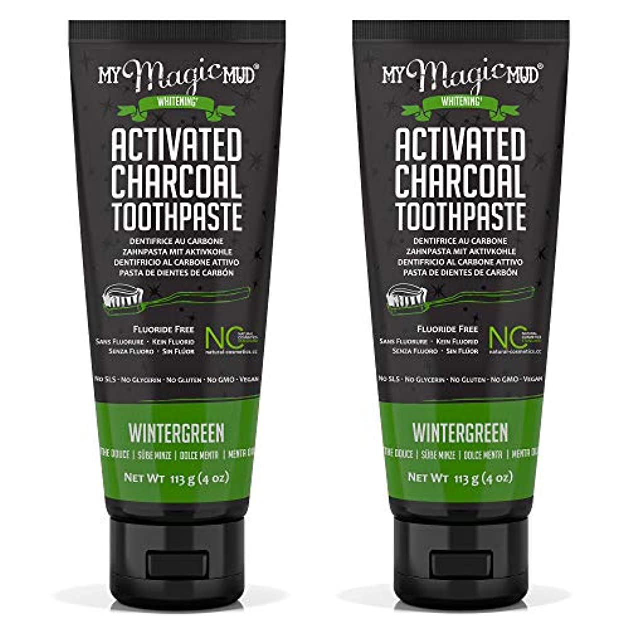 法廷甘味感性My Magic Mud Activated Charcoal Toothpaste (Fluoride-Free) - Wintergreen 113g/4oz並行輸入品