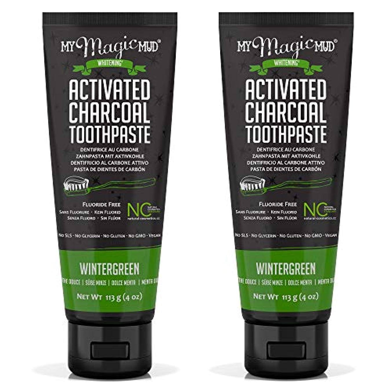 青写真本体倉庫My Magic Mud Activated Charcoal Toothpaste (Fluoride-Free) - Wintergreen 113g/4oz並行輸入品