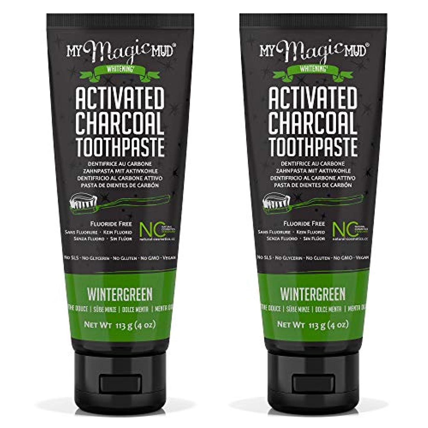エキゾチック是正する多くの危険がある状況My Magic Mud Activated Charcoal Toothpaste (Fluoride-Free) - Wintergreen 113g/4oz並行輸入品