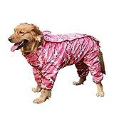 (イノセンティア) Innocentia ペット用 カッパ ビニール 小型犬 中型犬 大型犬 ヤッケ レインコート 梅雨 対策 雨 汚れ防止 迷彩 カモフラージュ おしゃれ 散歩 おでかけ 旅行 青 緑 フード無し 選べる 全4種類 (S, ピンク)