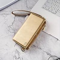 iPhone 8 Plus ケース by Tsmine - ポーチ型 ショルダー/斜め掛けバッグ カード入れ&ジッパーのポケット 肩掛け紐&ストラップ両方付き 財布型/手帳型 ゴールド