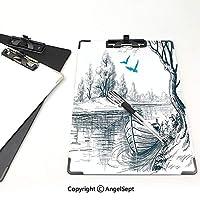クリップボードメモ型サイズ低プロファイルクリップ 湖の家の装飾 学生用かわいい画集 穏やかな川の木の鳥鳥の小枝スケッチ描画クリップアート水ミニマルホワイトグレーブルー