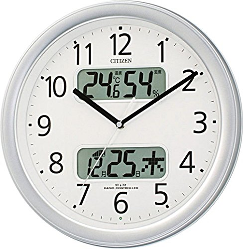 CITIZEN シチズン 掛け時計 電波時計 温度・湿度計付き ネムリーナカレンダー M01 シルバー 4FYA01-019