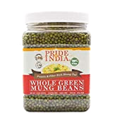 Pride Of India - Indian Whole Green Mung Gram - Protein & Fiber Rich Moong Whole, 1.5 Pound Jar