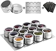 Aiyola Magnetic Spice Jars 12pcs with Wall Base, Stainless-Steel Magnetic Spice Container Dustproof Magnetic S