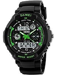 SKMEI デジタル 腕時計 黒 PU バンド 防水 多機能 LED スポーツ ミリタリー クォーツ 電子時計 (グリーン)