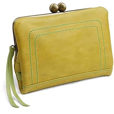 [パッカパッカ] pacca pacca 日本製 馬革 レディース がま口 二つ折り財布 袋縫いタイプ(イエロー) [ウェア&シューズ]