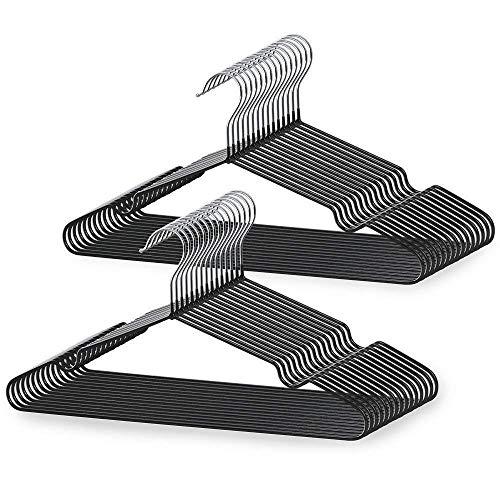 LEEPWEI ハンガー 洗濯ハンガー 50本組 ブラック高品質 PVC特殊ラバー加工 洗濯 スーツ スリム 薄い 頑丈 ラック 収納 hanger ズボン (メーカー保証12ヶ月)