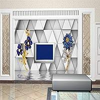 Weaeo 壁紙3D写真の背景の写真ステレオダイヤモンドの花のリビングルームの紙の壁画の壁画 - 3D-120X100Cm