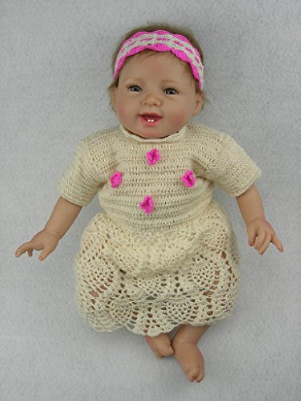 NPKDOLLリボーンベビードールソフトシリコン22インチ55センチメートル磁気口ラブリーかわいい玩具スマイルプリンセスガールホワイトドレス 人形 Reborn Baby Doll A1JP