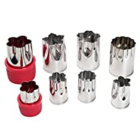 LOHOME Vegetable Cutter Mold - Set of 8pcs Stainless Steel Mini Cookie Cutters Flower Shape Slicer Cake Fruit Cut Tool [並行輸入品]