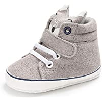 Iuhan Cotton Baby Girl Boys Fox Hight Cut Shoes Anti-Slip Infant Soft Sole Sneaker (Age:6~12 Month Gray)