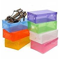 10 x折りたたみ式プラスチック靴ストレージボックススタッカブルボックス収納ケース蓋、色ランダム