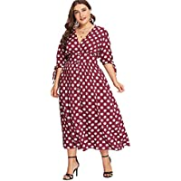 Milumia Plus Size Button Down Dress Polka Dot Vintage Retro Wrap V Neck Maxi Party Dress