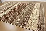 ギャベ柄デザイン ラグ カーペット じゅうたん 3畳床暖適応サイズ(200×290cm) ロータス/1628 ブラウン