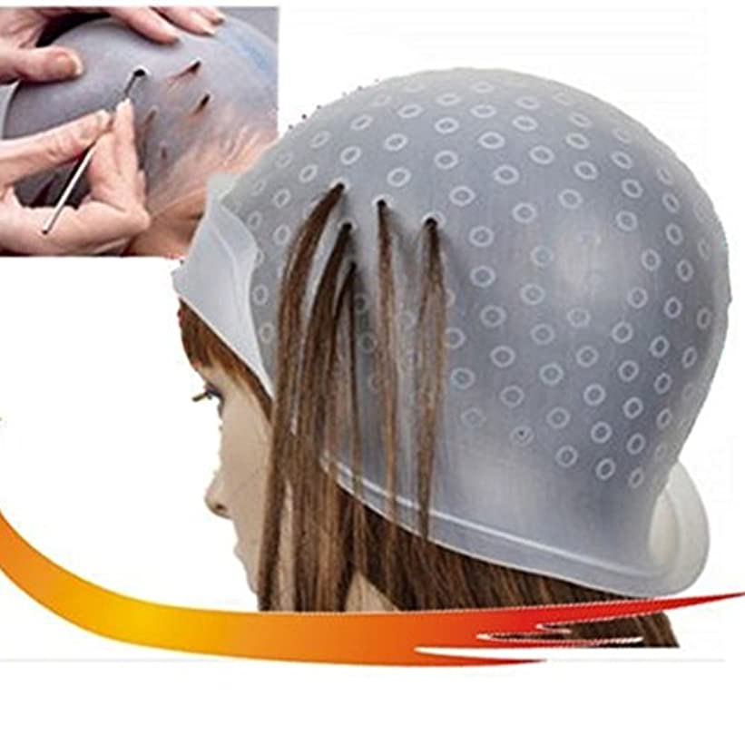 グループ継続中溶融染料フロスティングキャップ、再利用可能なシリコーンヘアカラーリングキャップ、髪を強調するキャップサロンヘアカラーリング染料キャップヘアスタイリングツール髪を染めるための針(トランスペアレント)
