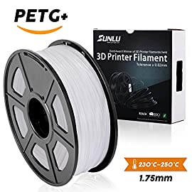 SUNLU White PETG 3D Printer Filament 1.75mm Reference Specs:  Diameter: 1.75MM  Tolerance Level: ±0.03MM  Print Temperature: 230-260°C / (446-550°F)  Print Speed: 50-100mm/s  Base Plate Temperature: No Heat Required/50-80°C  Bubble: 100% Zero Bubbles...