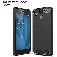 Asus ZenFone Zoom S ZE553KL / Zenfone 3 Zoom ZE553KL ケース MaxKu ソフト 軽量 落下防止ソフトめっきTPUケース 高品質シリコンケース 衝撃吸収カバー (ブラック)
