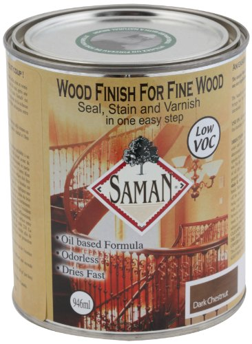 SamaN SAM-301-1L 1-Quart Interior Stain for Fine Wood for Seal, Stain and Varnish, Antique, SAM-308-1L