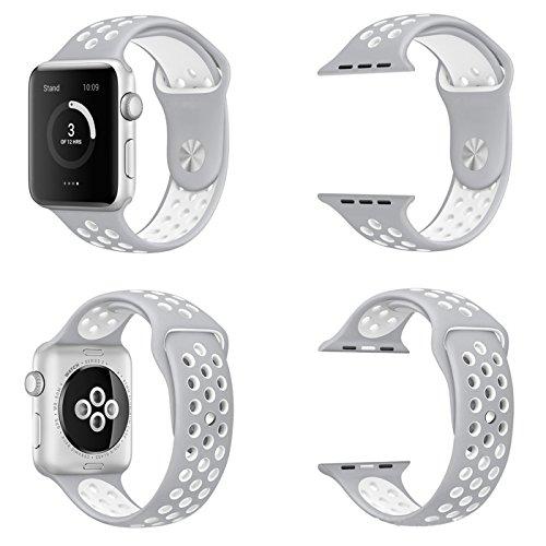 【万屋】Apple Watch スポーツバンド 全16色 高級シリコンバンド Apple Watch Series 3 / Series 2 Series 1 に向け 専用スポーツバンド 通気 汚れ防止 水洗い可 Apple Watch 人気スポーツバンド (Apple Watch 38mm, ベージュ+ホワイト)