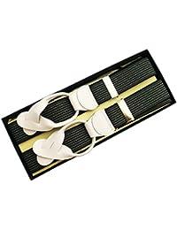 (ブレイス)Brace 6ボタン止め サスペンダー メンズ 紳士 英国 AZ Grey/4Black グレー ブラック Stripe/WhiteLeatherend B414