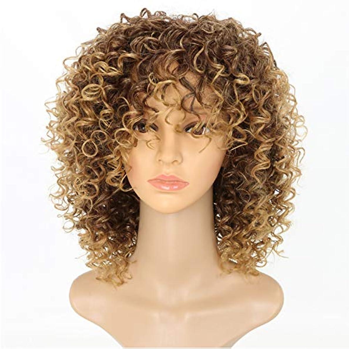 メタリック万歳適合しました黒人女性カーリーショートカーリー変態かつら茶色の女性ふわふわ波状のかつら自然な合成ファッションかつら