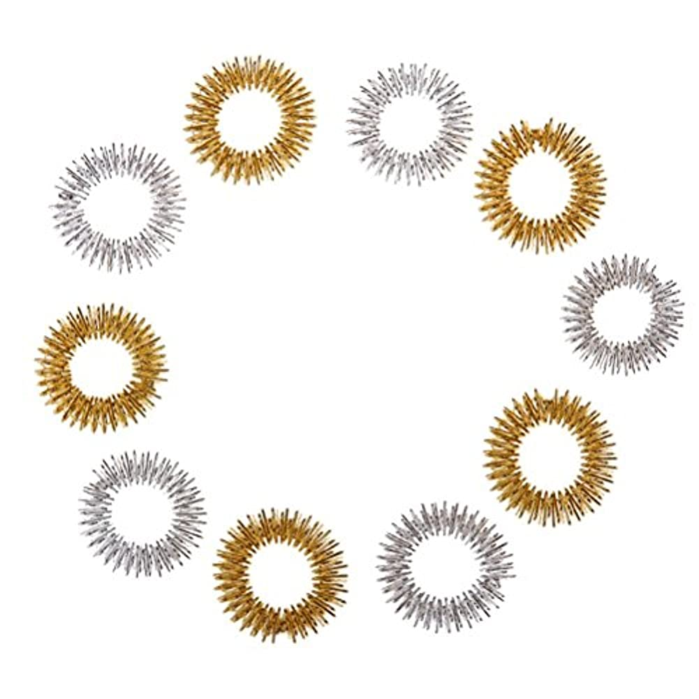 仮定する郵便物本Healifty 10個指圧マッサージリング子供のための指の循環リング十代の若者たちの大人(ランダムカラー)