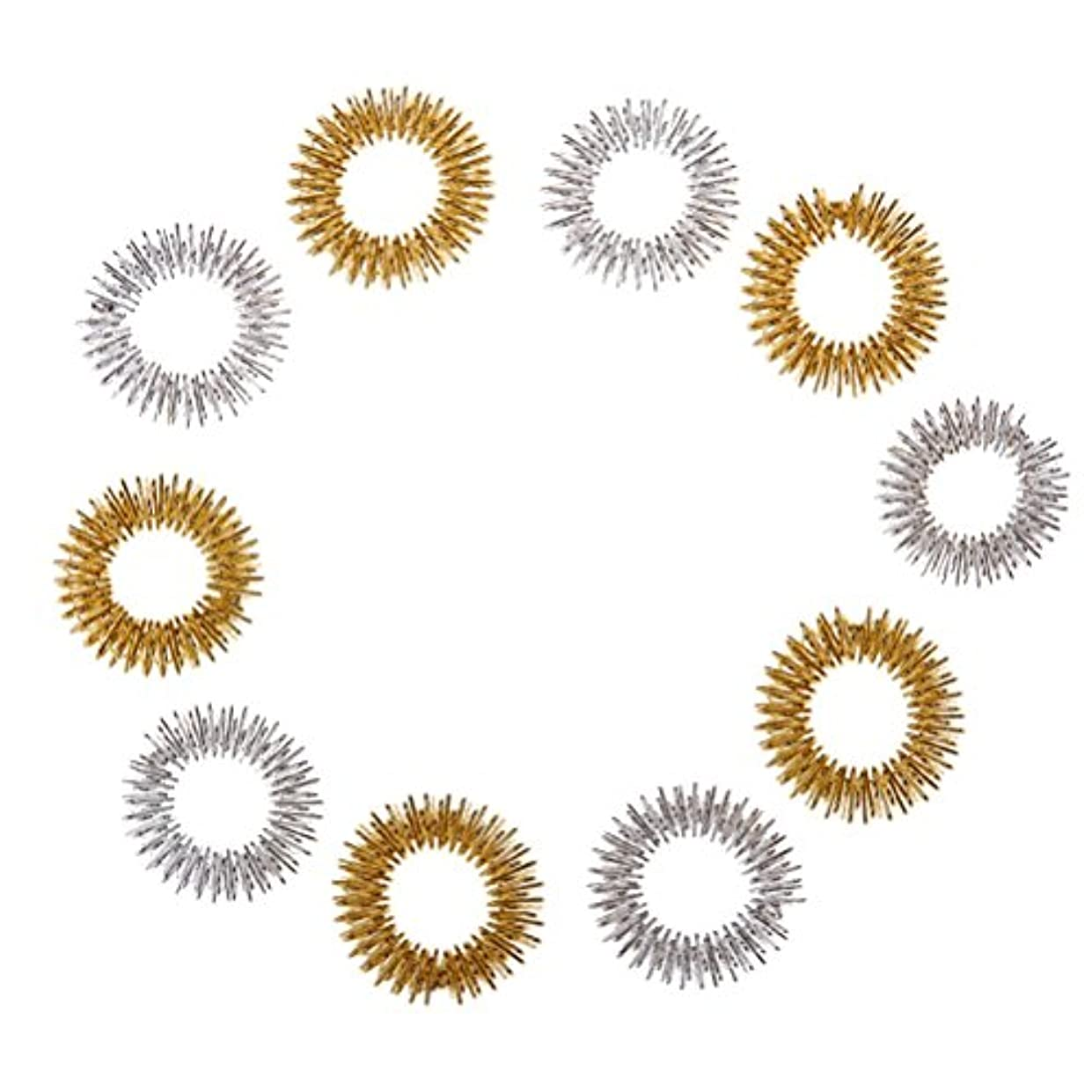 知覚する近代化する行くHealifty 10個指圧マッサージリング子供のための指の循環リング十代の若者たちの大人(ランダムカラー)