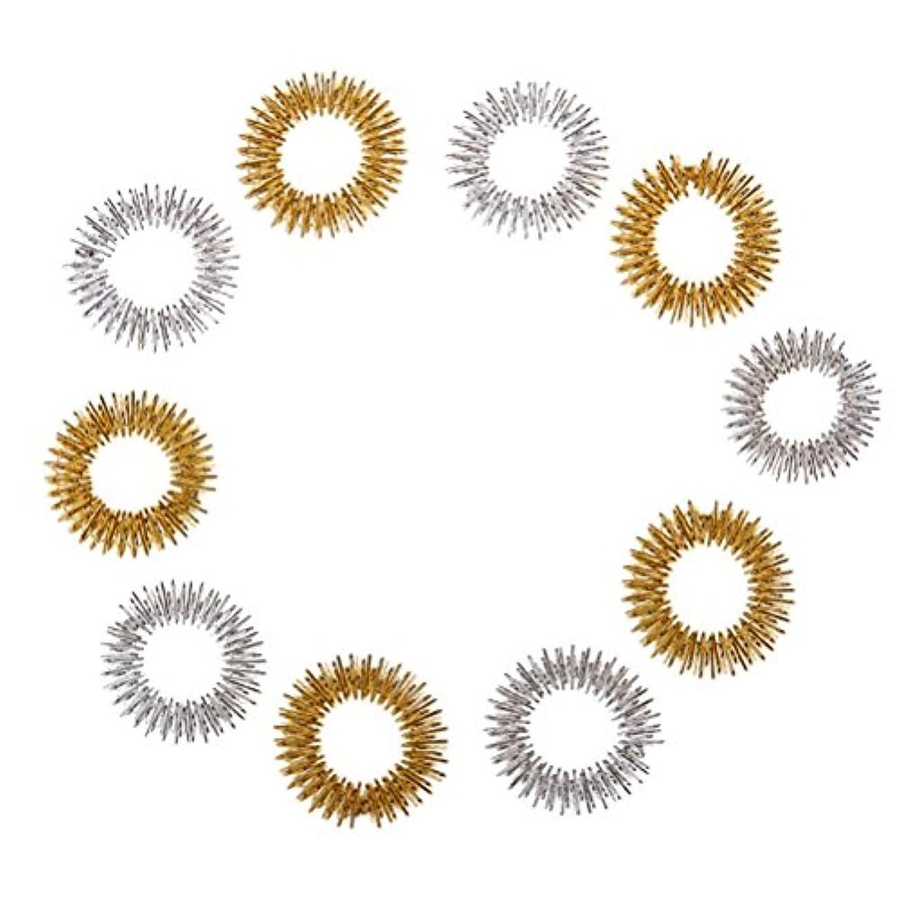 Healifty 10個指圧マッサージリング子供のための指の循環リング十代の若者たちの大人(ランダムカラー)
