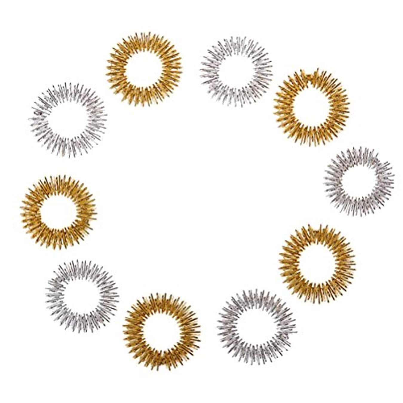 シャットスーダンランドマークHealifty 10個指圧マッサージリング子供のための指の循環リング十代の若者たちの大人(ランダムカラー)