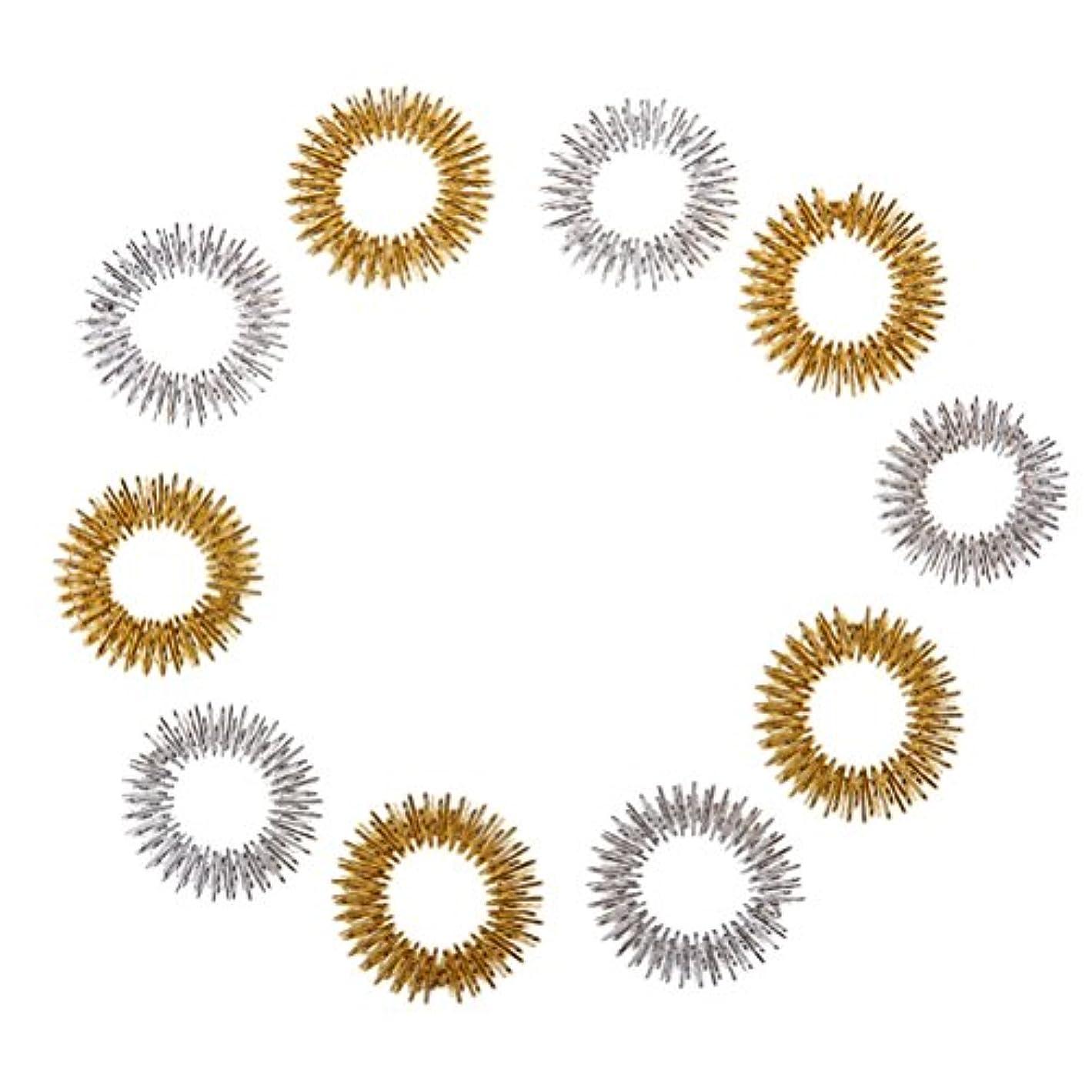 ダルセット散らすおとうさんHealifty 10個指圧マッサージリング子供のための指の循環リング十代の若者たちの大人(ランダムカラー)