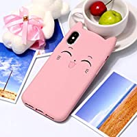 IPhone XS/X用ケース、チェシャ猫パターンシリコン保護ケースiPhone XS/X用 AXRXMA (色 : ピンク)