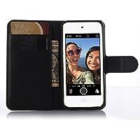 AIYOPEEN 第6世代のiPod touch 専用ケース 手帳型 カバー カード収納 ケース (黒)