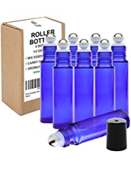 Rioa 10ml(1/3oz) Cobalt Blue Glass Roller Bottles With Stainless Steel Roller Ball for Essential Oil - Include...
