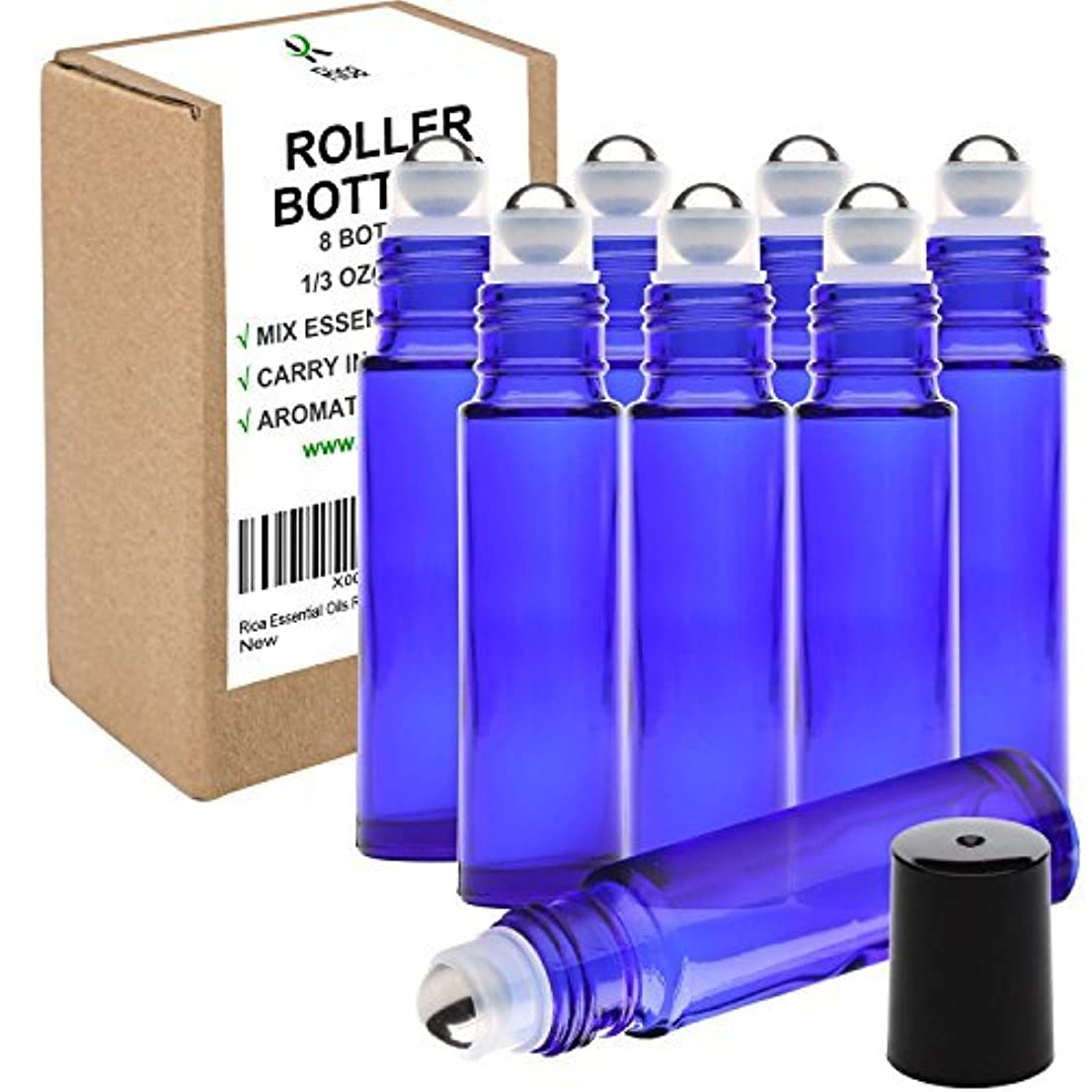 内側愛するポーターRioa 10ml(1/3oz) Cobalt Blue Glass Roller Bottles With Stainless Steel Roller Ball for Essential Oil - Include...